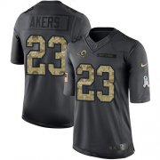 Wholesale Cheap Nike Rams #23 Cam Akers Black Men's Stitched NFL Limited 2016 Salute to Service Jersey