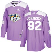 Wholesale Cheap Adidas Predators #92 Ryan Johansen Purple Authentic Fights Cancer Stitched NHL Jersey