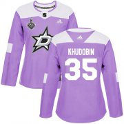 Cheap Adidas Stars #35 Anton Khudobin Purple Authentic Fights Cancer Women's 2020 Stanley Cup Final Stitched NHL Jersey