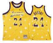 Wholesale Cheap Men's Los Angeles Lakers #24 Kobe Bryant Starry Yellow Hardwood Classics Soul Swingman Throwback Jersey