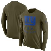 Wholesale Cheap Men's New York Giants Nike Olive Salute to Service Sideline Legend Performance Long Sleeve T-Shirt