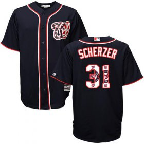 Wholesale Cheap Nationals #31 Max Scherzer Navy Blue Team Logo Fashion Stitched MLB Jersey