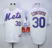 Wholesale Cheap Mets #30 Michael Conforto White(Blue Strip) Cool Base Stitched MLB Jersey