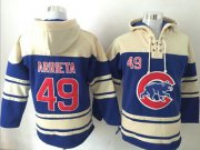 Wholesale Cheap Cubs #49 Jake Arrieta Blue Sawyer Hooded Sweatshirt MLB Hoodie