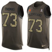 Wholesale Cheap Nike Browns #73 Joe Thomas Green Men's Stitched NFL Limited Salute To Service Tank Top Jersey