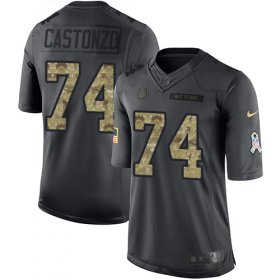 Wholesale Cheap Nike Colts #74 Anthony Castonzo Black Youth Stitched NFL Limited 2016 Salute to Service Jersey