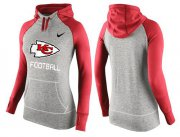 Wholesale Cheap Women's Nike Kansas City Chiefs Performance Hoodie Grey & Red_1
