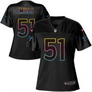Wholesale Cheap Nike Panthers #51 Sam Mills Black Women's NFL Fashion Game Jersey