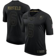 Wholesale Cheap Nike Browns 6 Baker Mayfield Black 2020 Salute To Service Limited Jersey