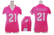 Wholesale Cheap Nike Cardinals #21 Patrick Peterson Pink Draft Him Name & Number Top Women's Stitched NFL Elite Jersey