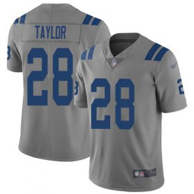 Wholesale Cheap Nike Colts #28 Jonathan Taylor Gray Men\'s Stitched NFL Limited Inverted Legend Jersey