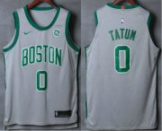Wholesale Cheap Men's Boston Celtics #0 Jayson Tatum Grey 2017-2018 Nike Authentic General Electric Stitched NBA Jersey