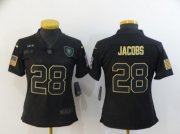 Wholesale Cheap Women's Las Vegas Raiders #28 Josh Jacobs Black 2020 Salute To Service Stitched NFL Nike Limited Jersey