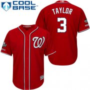Wholesale Cheap Nationals #3 Michael Taylor Red New Cool Base 2019 World Series Champions Stitched MLB Jersey