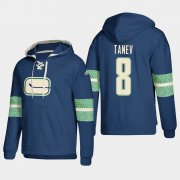 Wholesale Cheap Vancouver Canucks #8 Christopher Tanev Blue adidas Lace-Up Pullover Hoodie