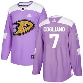 Wholesale Cheap Adidas Ducks #7 Andrew Cogliano Purple Authentic Fights Cancer Youth Stitched NHL Jersey