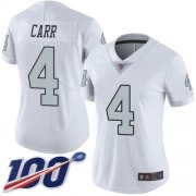 Wholesale Cheap Nike Raiders #4 Derek Carr White Women's Stitched NFL Limited Rush 100th Season Jersey