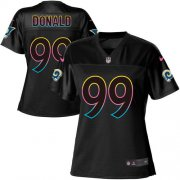 Wholesale Cheap Nike Rams #99 Aaron Donald Black Women's NFL Fashion Game Jersey