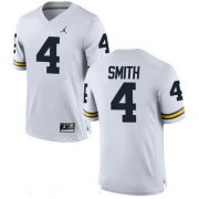 Wholesale Cheap Men's Michigan Wolverines #4 De'Veon Smith White Stitched College Football Brand Jordan NCAA Jersey