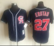 Wholesale Cheap Mitchell And Ness Angels of Anaheim #27 Darin Erstad Navy Blue Throwback Stitched MLB Jersey