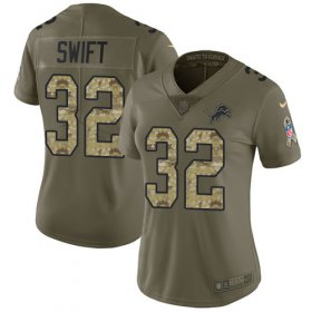 Wholesale Cheap Nike Lions #32 D\'Andre Swift Olive/Camo Women\'s Stitched NFL Limited 2017 Salute To Service Jersey