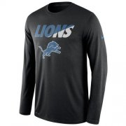 Wholesale Cheap Men's Detroit Lions Nike Black Legend Staff Practice Long Sleeves Performance T-Shirt