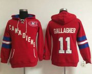 Wholesale Cheap Montreal Canadiens #11 Brendan Gallagher Red Women's Old Time Heidi NHL Hoodie