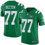 Wholesale Cheap Nike Jets #77 Mekhi Becton Green Men's Stitched NFL Limited Rush Jersey