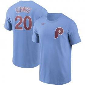 Wholesale Cheap Philadelphia Phillies #20 Mike Schmidt Nike Cooperstown Collection Name & Number T-Shirt Light Blue