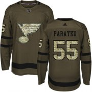 Wholesale Cheap Adidas Blues #55 Colton Parayko Green Salute to Service Stitched NHL Jersey
