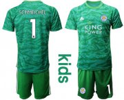 Wholesale Cheap Leicester City #1 Schmeichel Green Goalkeeper Kid Soccer Club Jersey