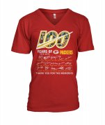 Wholesale Cheap Green Bay Packers 100 Seasons Memories Women's V-Neck T-Shirt Red