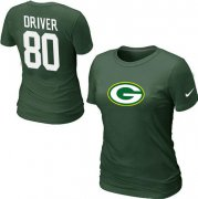 Wholesale Cheap Women's Nike Green Bay Packers #80 Donald Driver Name & Number T-Shirt Green
