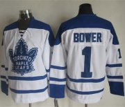 Wholesale Cheap Maple Leafs #1 Johnny Bower White CCM Throwback Winter Classic Stitched NHL Jersey