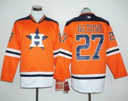 Wholesale Cheap Astros #27 Jose Altuve Orange Long Sleeve Stitched MLB Jersey