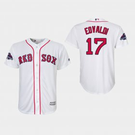 Wholesale Cheap Red Sox #17 Nathan Eovaldi White Cool Base 2018 World Series Champions Stitched Youth MLB Jersey