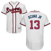 Wholesale Cheap Braves #13 Ronald Acuna Jr. White Flexbase Authentic Collection Stitched MLB Jersey