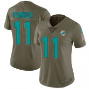 Wholesale Cheap Nike Dolphins #11 DeVante Parker Olive Women's Stitched NFL Limited 2017 Salute to Service Jersey