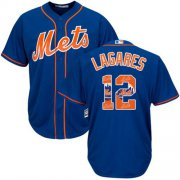 Wholesale Cheap Mets #12 Juan Lagares Blue Team Logo Fashion Stitched MLB Jersey