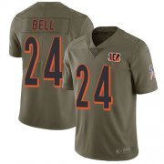 Wholesale Cheap Nike Bengals #24 Vonn Bell Olive Youth Stitched NFL Limited 2017 Salute To Service Jersey