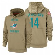 Wholesale Cheap Miami Dolphin #14 Ryan Fitzpatrick Nike Tan 2019 Salute To Service Name & Number Sideline Therma Pullover Hoodie