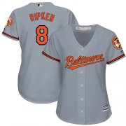 Wholesale Cheap Orioles #8 Cal Ripken Grey Road Women's Stitched MLB Jersey