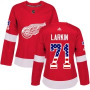 Wholesale Cheap Adidas Red Wings #71 Dylan Larkin Red Home Authentic USA Flag Women's Stitched NHL Jersey