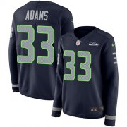 Wholesale Cheap Nike Seahawks #33 Jamal Adams Steel Blue Team Color Women's Stitched NFL Limited Therma Long Sleeve Jersey