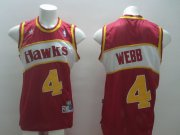 Wholesale Cheap Atlanta Hawks #4 Spud Webb Red Swingman Throwback Jersey