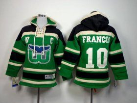 Wholesale Cheap Whalers #10 Ron Francis Green Sawyer Hooded Sweatshirt Stitched Youth NHL Jersey