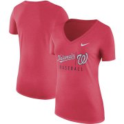 Wholesale Cheap Washington Nationals Nike Women's Practice Tri-Blend V-Neck T-Shirt Red