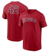 Wholesale Cheap Los Angeles Angels Nike Jackie Robinson Day Team 42 T-Shirt Red