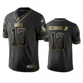 Wholesale Cheap Browns #13 Odell Beckham Jr Men\'s Stitched NFL Vapor Untouchable Limited Black Golden Jersey