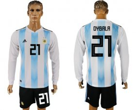 Wholesale Cheap Argentina #21 Dybala Home Long Sleeves Soccer Country Jersey
